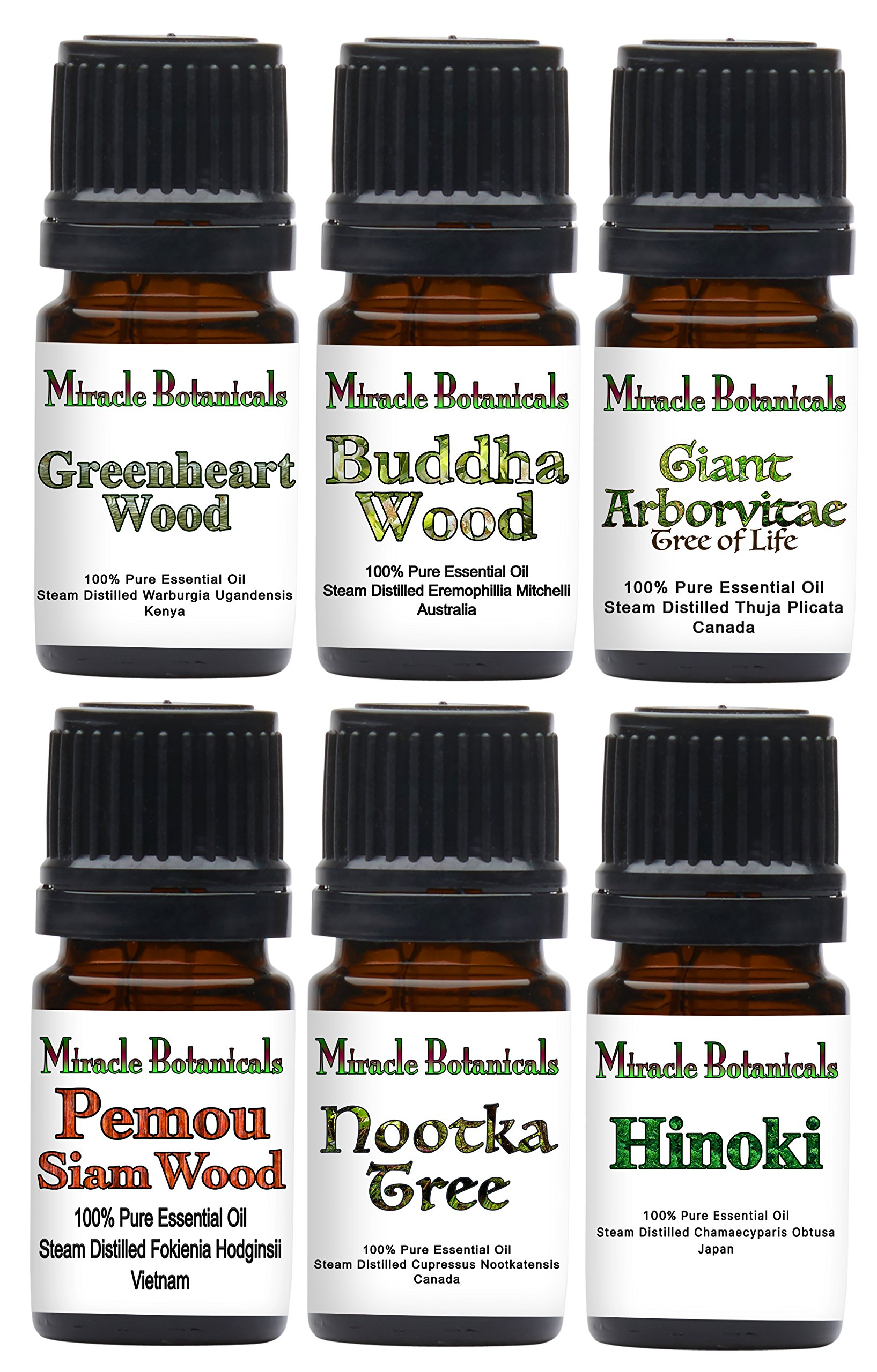 Miracle Botanicals Exotic Wood Essential Oil Set - 100% Pure Therapeutic Grade - (6) 5ml