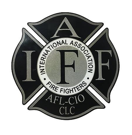 4 Inch Reflective IAFF American Flag Firefighter Maltese Cross Sticker Decal
