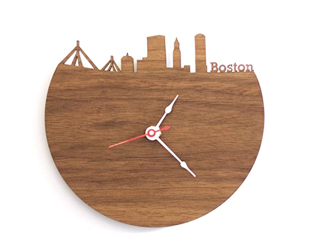 image of a dark wood clock with a red seconds hand. it is a circular shape with the top quarter sliced off and instead turned into the boston cityscape, with the word