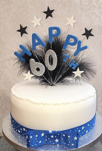 Happy 60th Birthday Cake Topper Blue Black Silver Plus 1 X Metre 25mm White Star Grosgrain