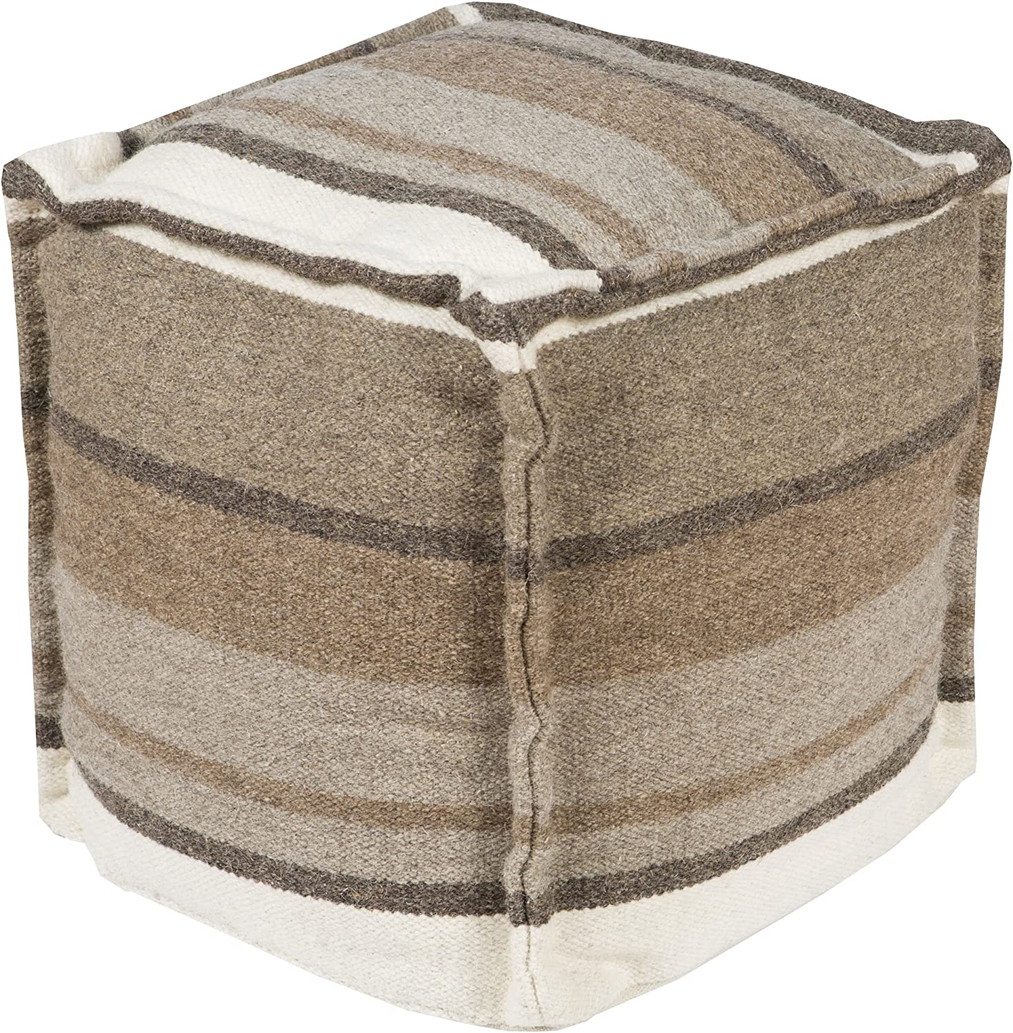 Natural 18 by 18 by 18-Inch Surya POUF-101 Decorative Pouf