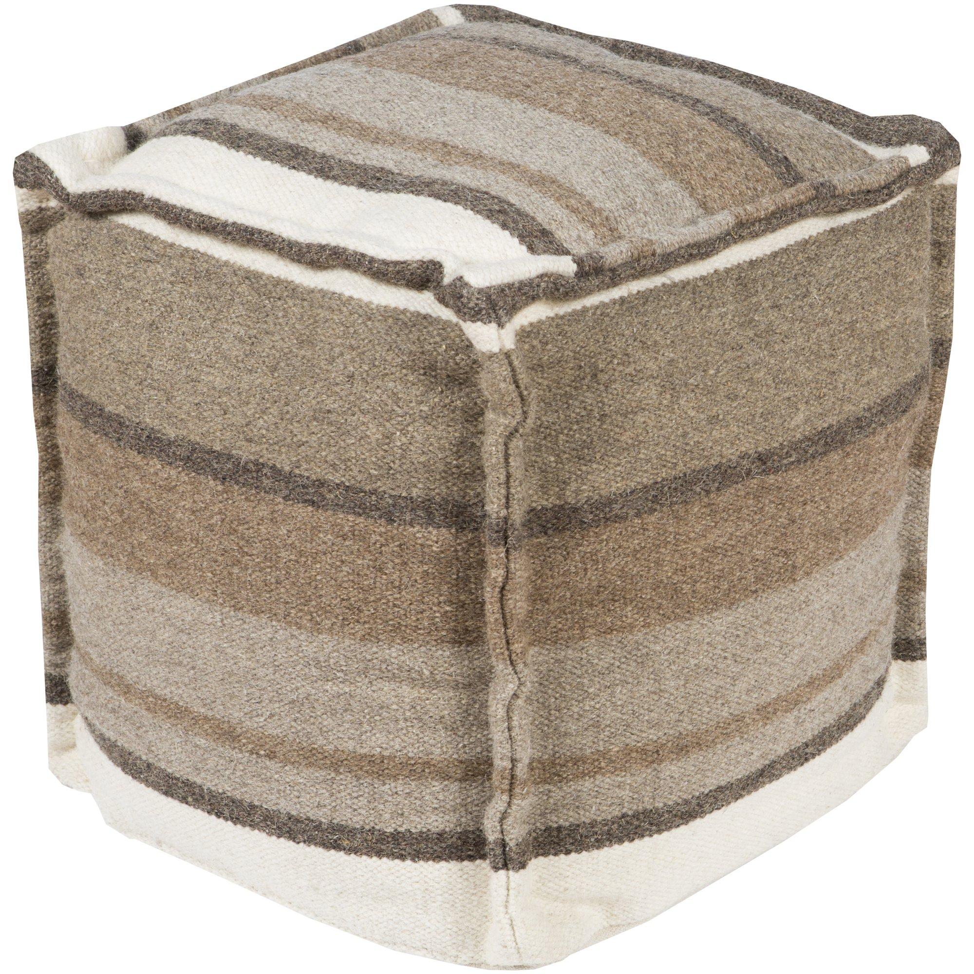 Surya POUF-99 Hand Made 100% Wool Mossy Gold 18'' x 18'' x 18'' Pouf