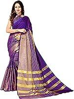glory sarees women's cotton silk saree(jari199_purple)