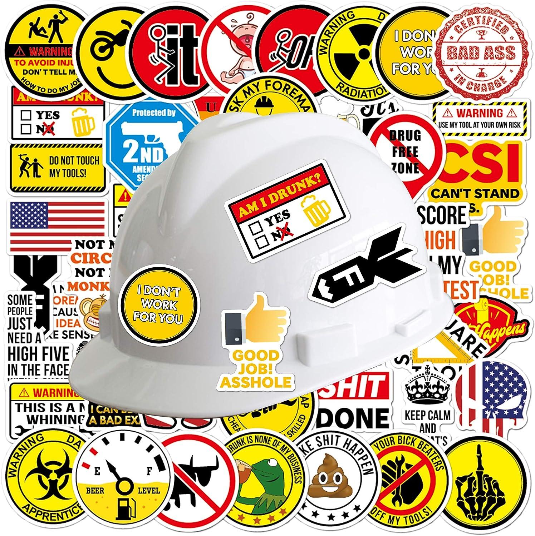 50 Pcs Hard Hat Stickers Funny Waterproof Tool Box Helmet Water Bottle Sticker Decal for Welding Construction Electrician
