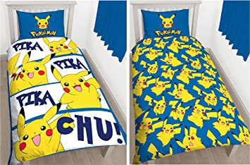 pokemon pikachu single duvet cover and pillowcase set kids bedding official new