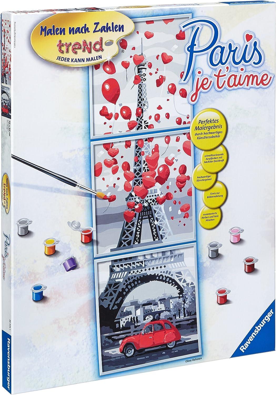 30x90 je t/'aime Malen nach Zahlen trend Triptychon Paris mit Bilderfirnis