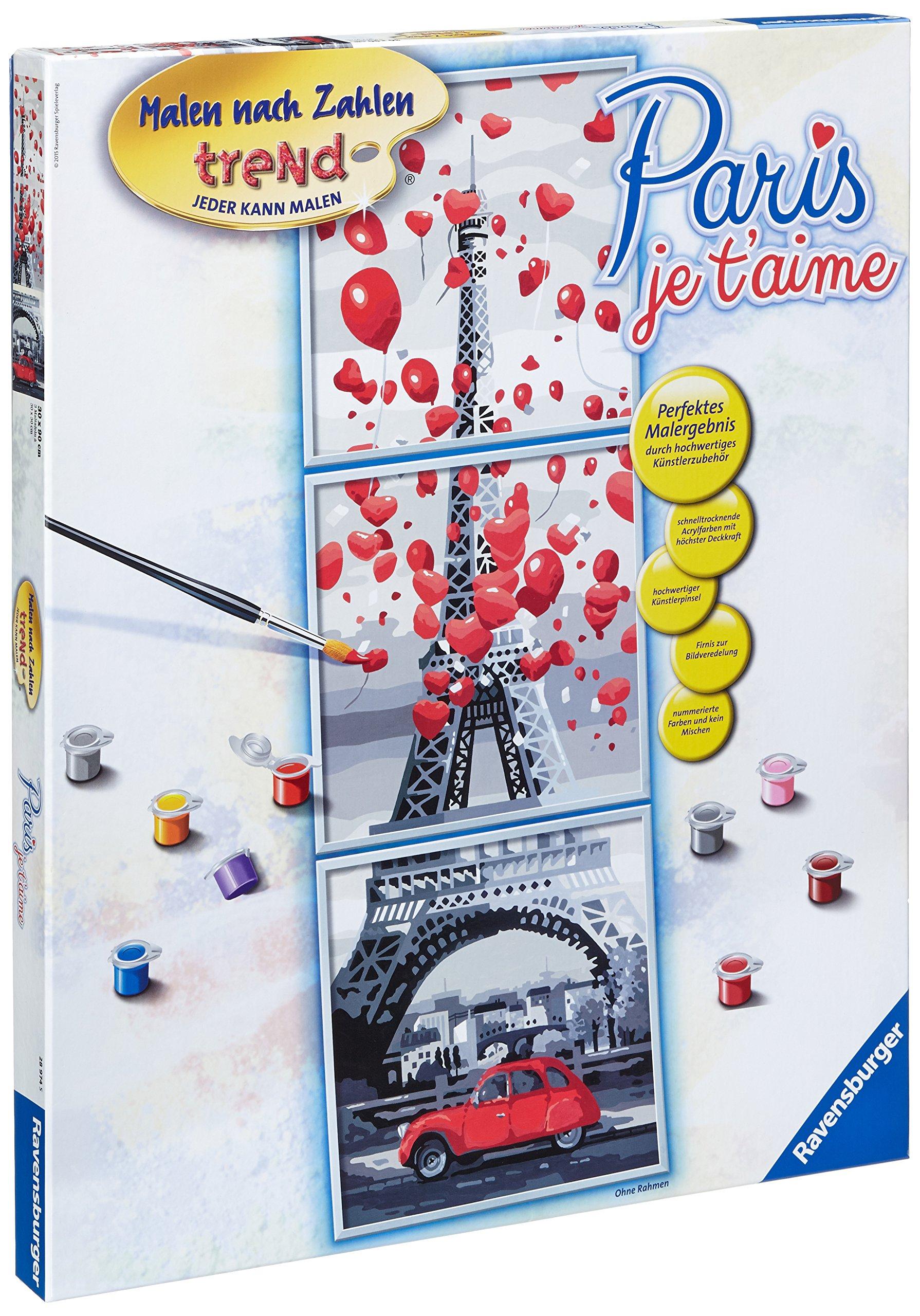 Ravensburger 28974 5 Paint by Numbers Paris, Je T'Aime