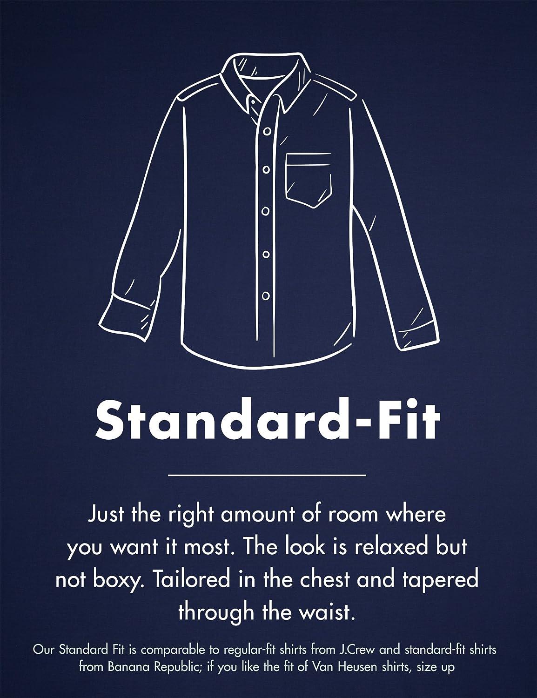 Medium Azul Indigo Goodthreads Standard-Fit Long-Sleeve Solid Oxford Shirt Camisa
