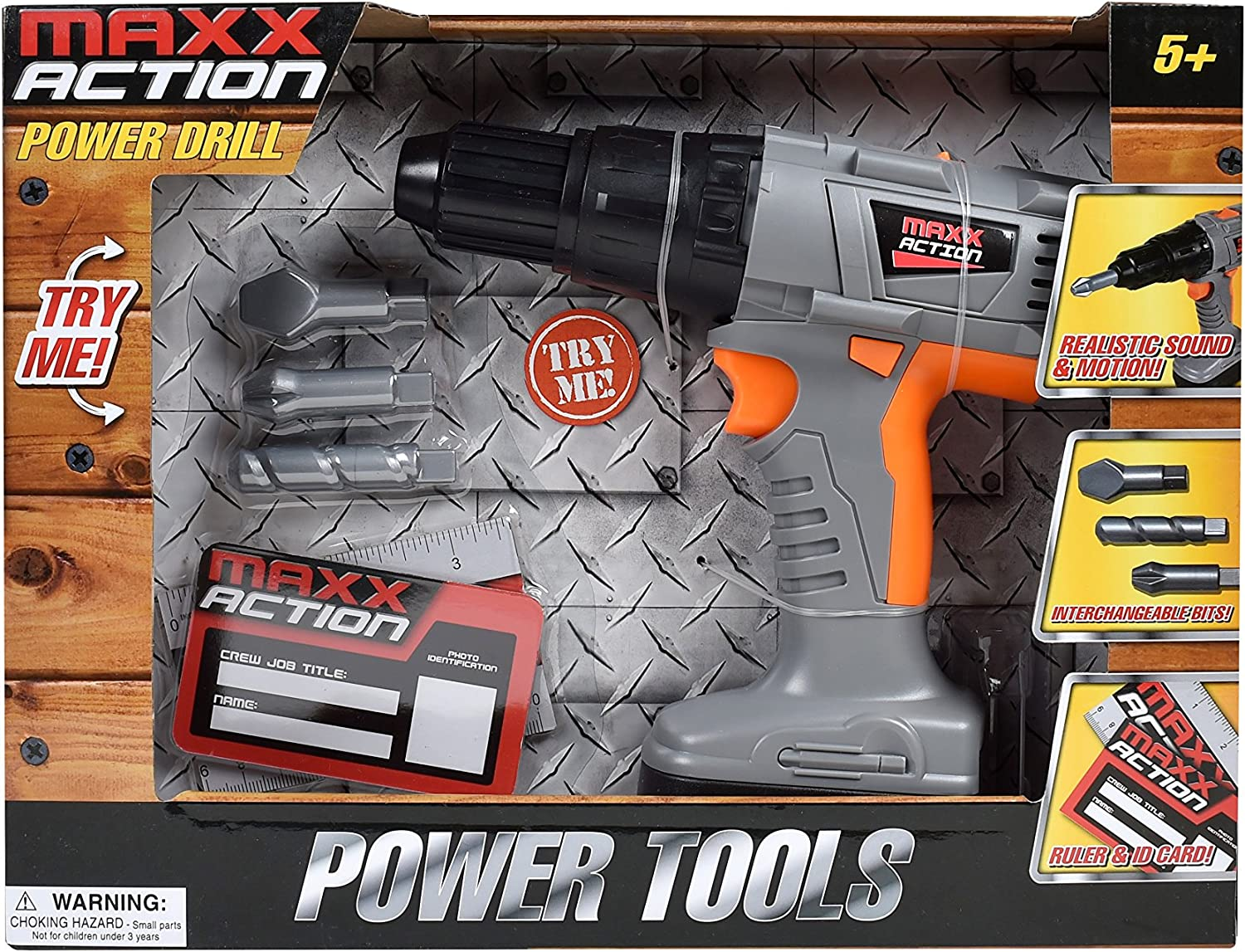 Maxx Action Power Tools Drill with Realistic Drilling Movement and Drill Bit Accessories