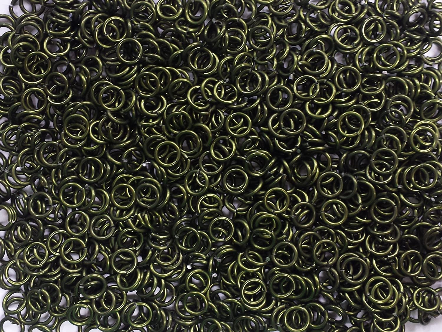 1800+ Rings! 1//2 Pound Kelly Green Anodized Aluminum Jump Rings 16G 1//4 ID