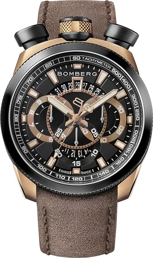Mit Bomberg Chronograph Uhr Leder Quarz Armband Bs45 017 Herren HE29ID