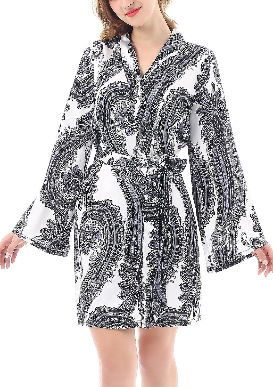 Yulee Womens Floral Satin Kimono Robe Short Bathrobe Comfort Sleepwear: Amazon.co.uk: Clothing
