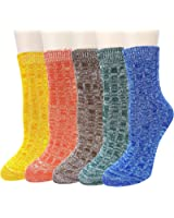 Pack of 5 Womens Cotton Comfort Casual Crew Socks