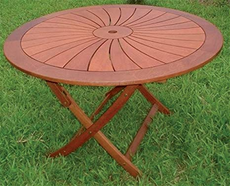 Homegarden tavolo tondo in legno arredo giardino pieghevole cm 120