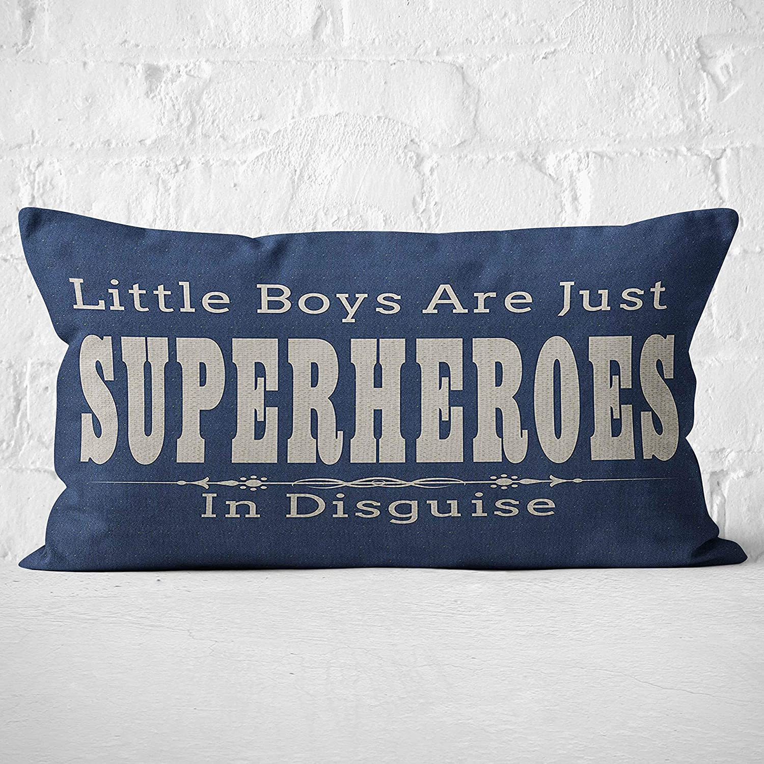 Little Boys are Just Superheroes in DisguiseThrow Pillow Case, Marvel Superhero Themed Room Decor, Son Bedroom Decor, Gift Son, Nephew, Grandson, 20 x 12 Inch Linen Cushion Cover for Sofa Couch Bed