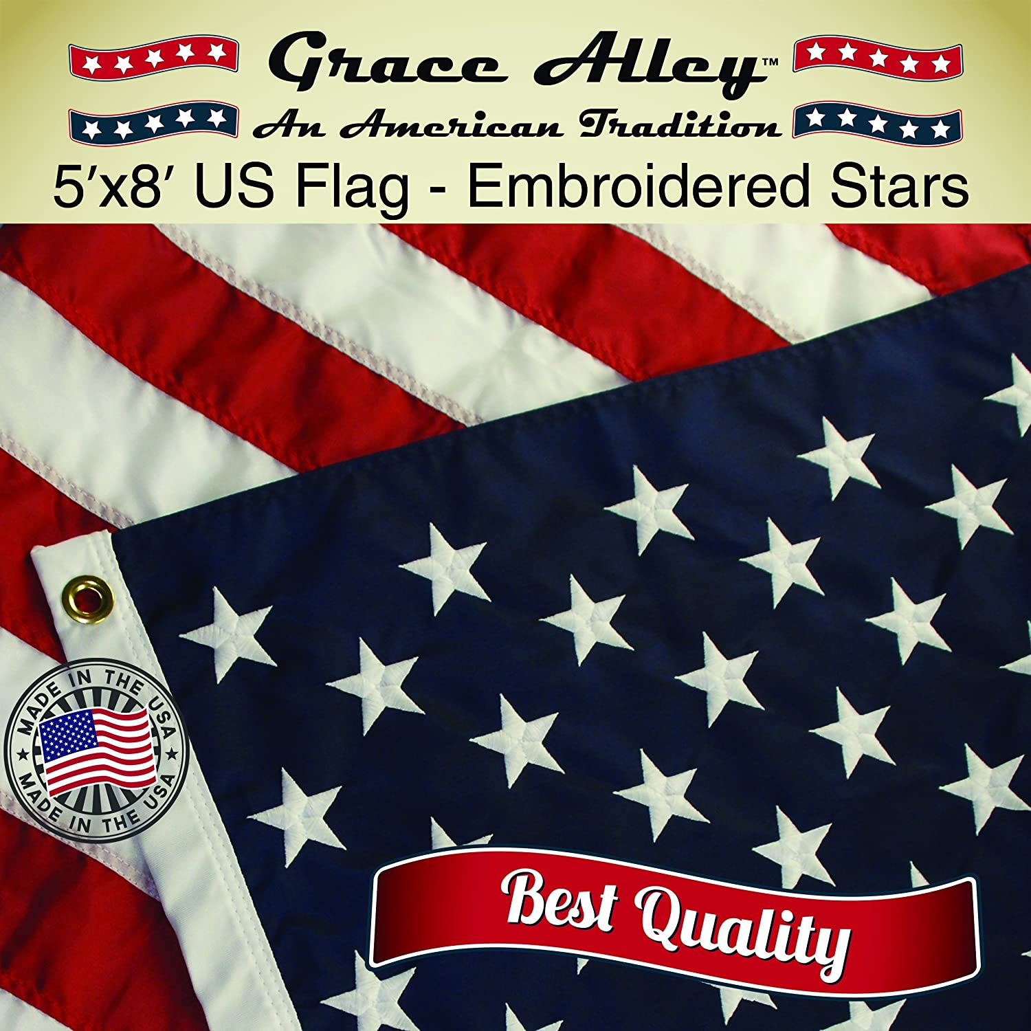 Amazon.com : American Flag: American Made by Grace Alley - 3x5 FT ...