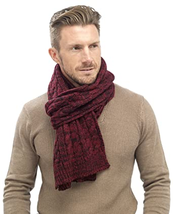 Tom Franks Mens Chunky Cable Knit Scarf Red Amazon Co Uk Clothing