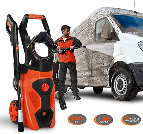 ENSTVER Electric Power Washer,2100PSI 1.8 GPM Pressure Cleaner Machine with Spray Gun,Spray Brush,Adjustable Nozzles and Onboard Detergent Tank- Orange