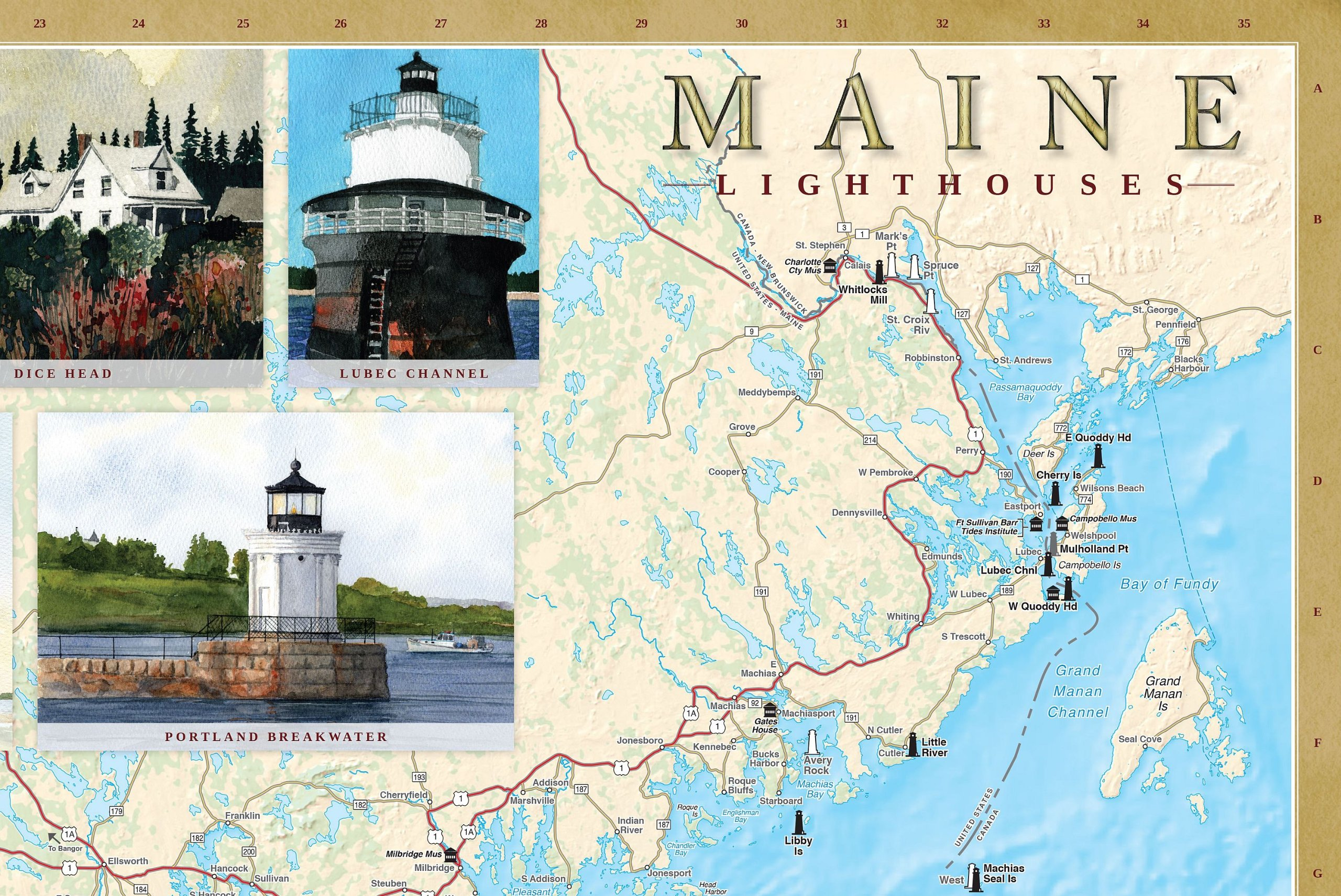 Maine Lighthouse Map Compressportnederland