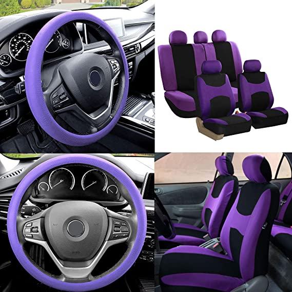 Flat Cloth Car Seat Covers Green Black 2Row Set w// Silicone Steering Wheel Cover