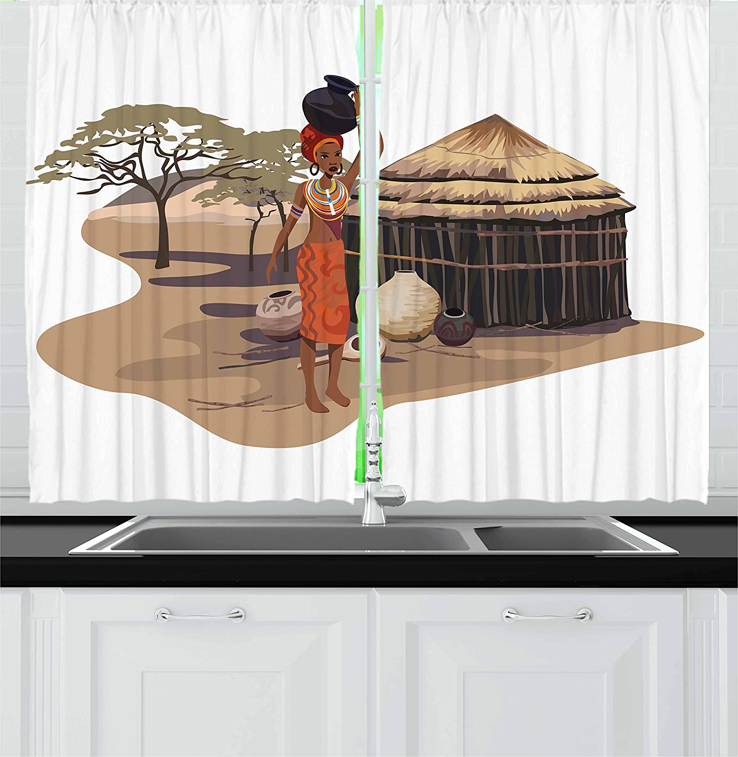 Amazon Com Ambesonne African Kitchen Curtains Native Woman Carrying A Pot Hut Tree Natural Landscape Village Illustration Window Drapes 2 Panel Set For Kitchen Cafe Decor 55 X 39 Multicolor Home Kitchen