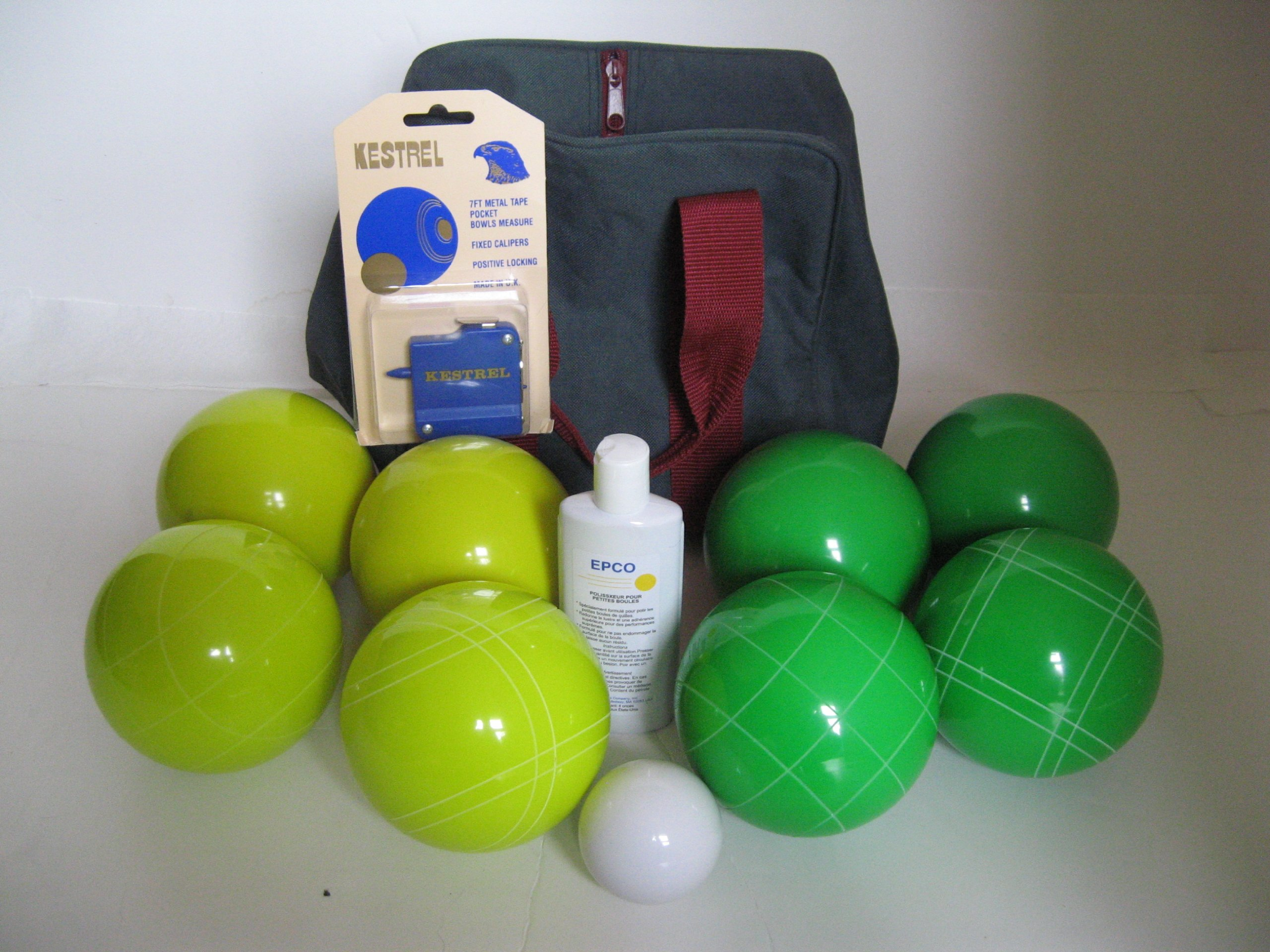 Premium Quality Basic EPCO Bocce package - 110mm Yellow and Green balls, quality nylon bag, m...