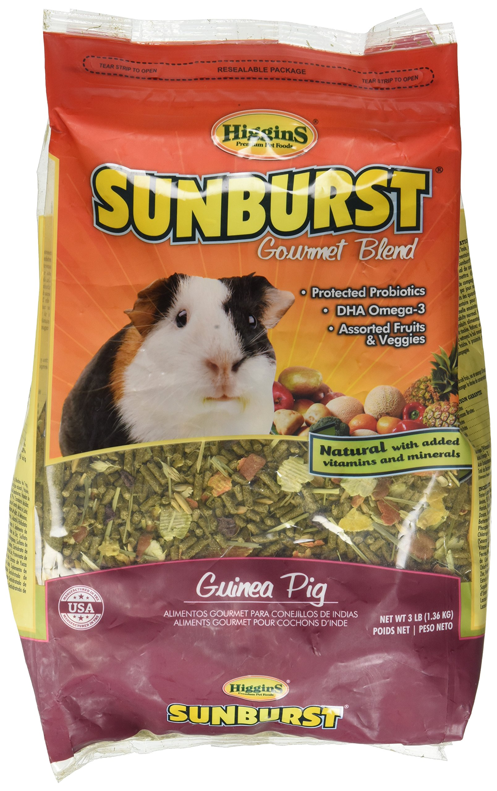 Higgins Sunburst Gourmet Food Mix for Guinea Pigs, 3 Pound