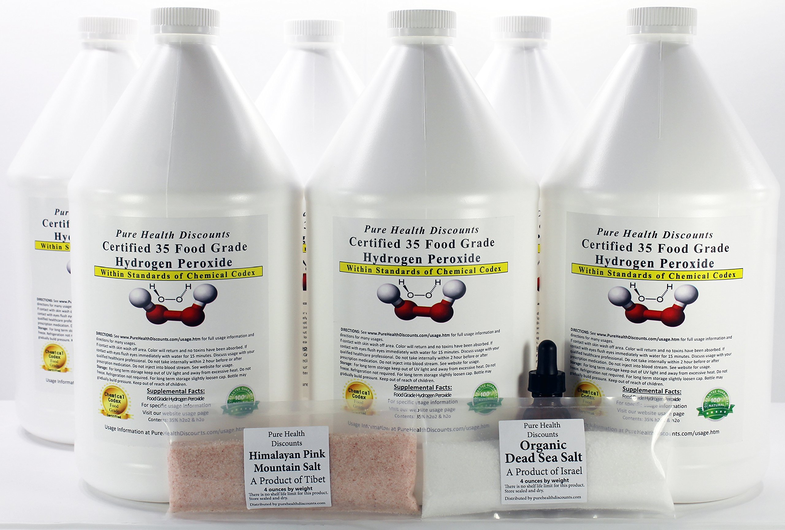 6 Gallons of 35% Food Grade Hydrogen Peroxide. A BONUS dropper bottle & 4oz DeadSea Salt & 4oz Himalayan Sea Salt. Shipped fast. This is a GREAT price for the REAL thing! Only $25 per gallon. WOW (& we can private label at no add'l charge for you)