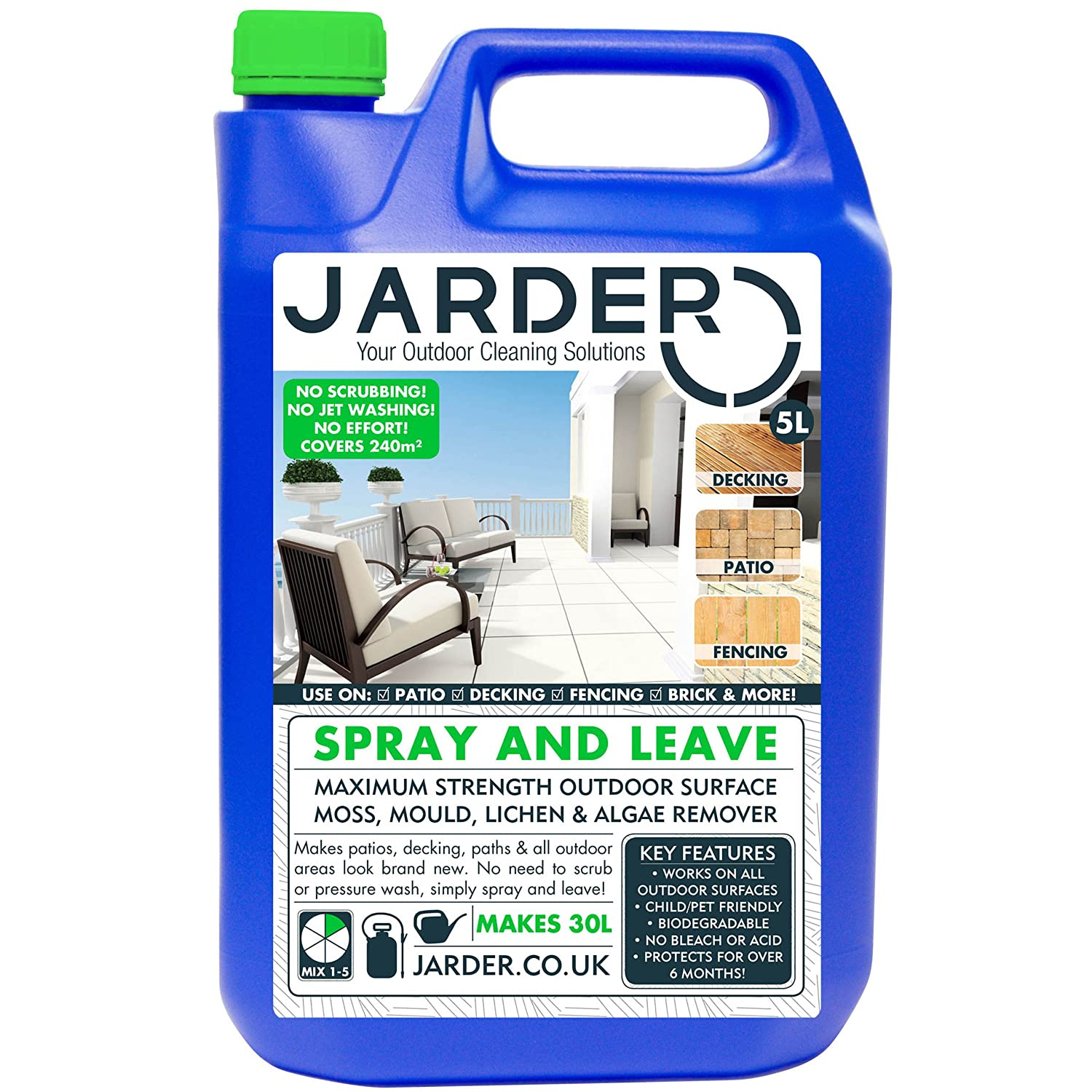 Jarder 5 Litre Concentrate Spray & Leave Cleaner - Patio Fencing Decking - Moss Mould & Algae Killer