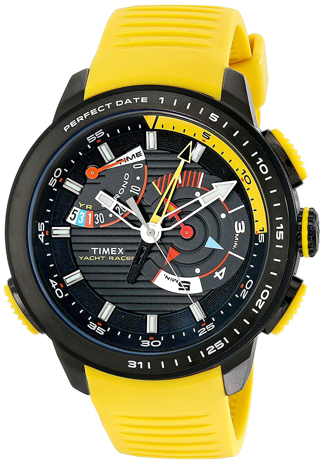 ba57e93fa0f5 Amazon.com  Timex Men s TW2P44500DH Intelligent Quartz Yacht Racer Watch  With Yellow Silicone Band  Timex  Watches