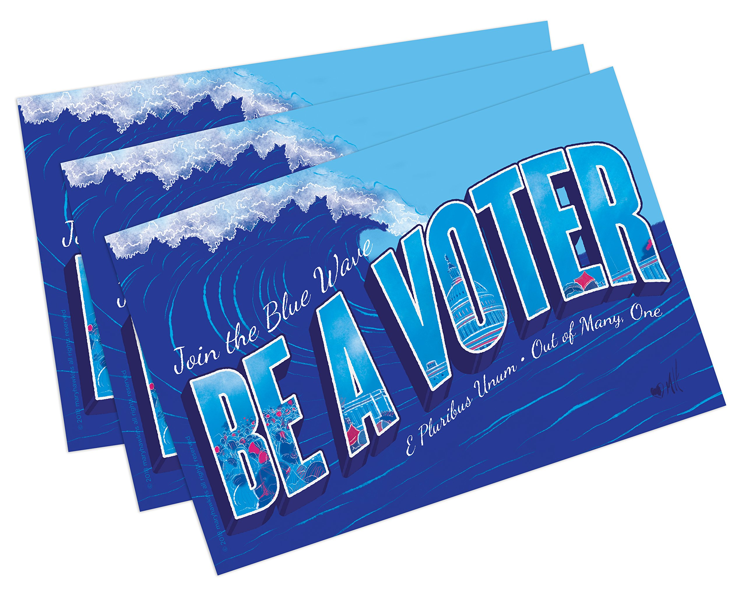 ''Blue Wave'' Postcards. Perfect for Writing to Your Representatives or Get Out The Vote Campaigns Like Postcards to Voters (100) by Mary Likes Postcards