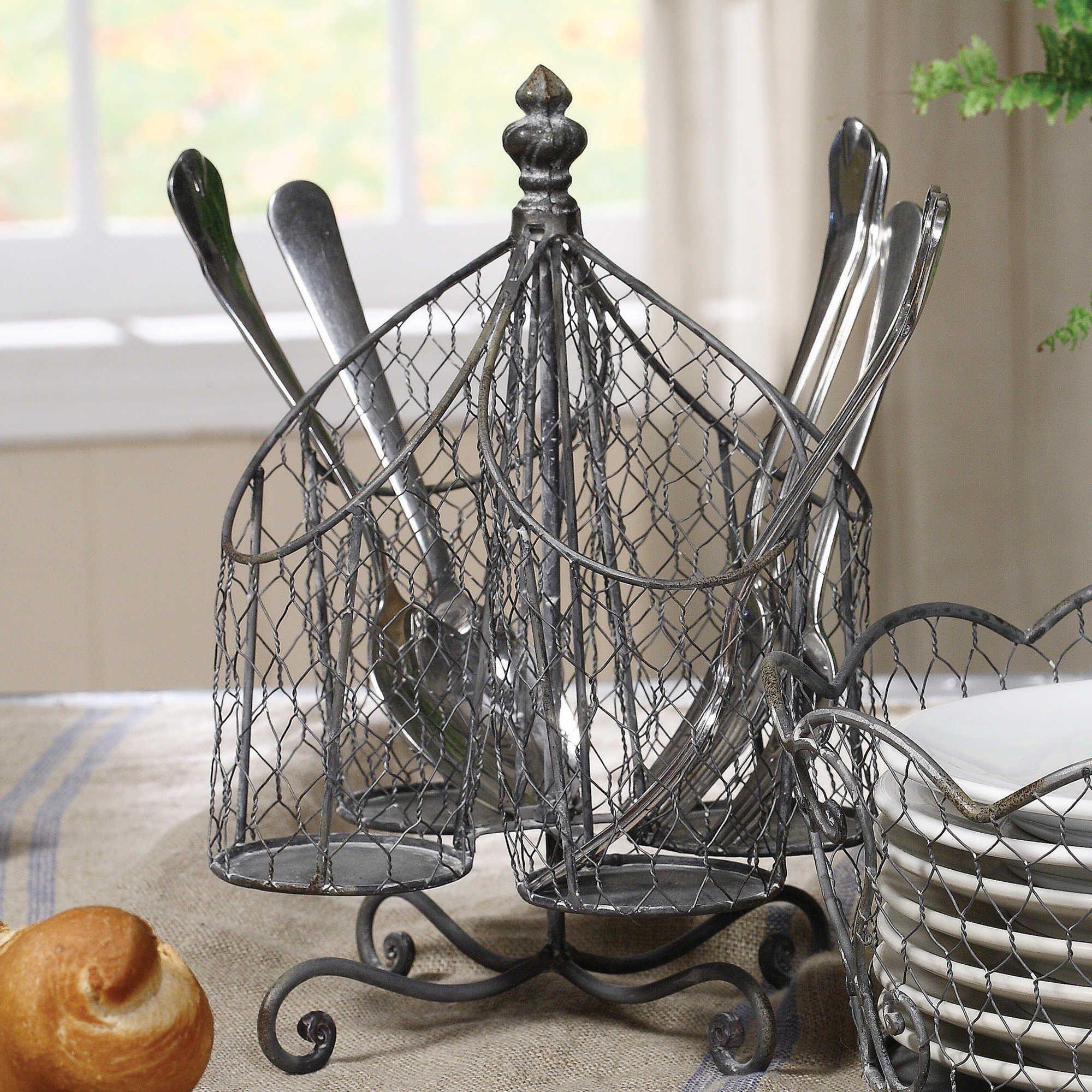 Kitchen Supply Utensil Cutlery Organizer, Holds Napkins, Forks, Spoons, Spatula, Vintage Style [Caddy] Silverware Holder for Kitchen Countertop Storage, Centerpiece