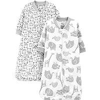 Baby 2-Pack Microfleece Long-Sleeve Sleepbag, Heather Grey Animals, 0-3 Months