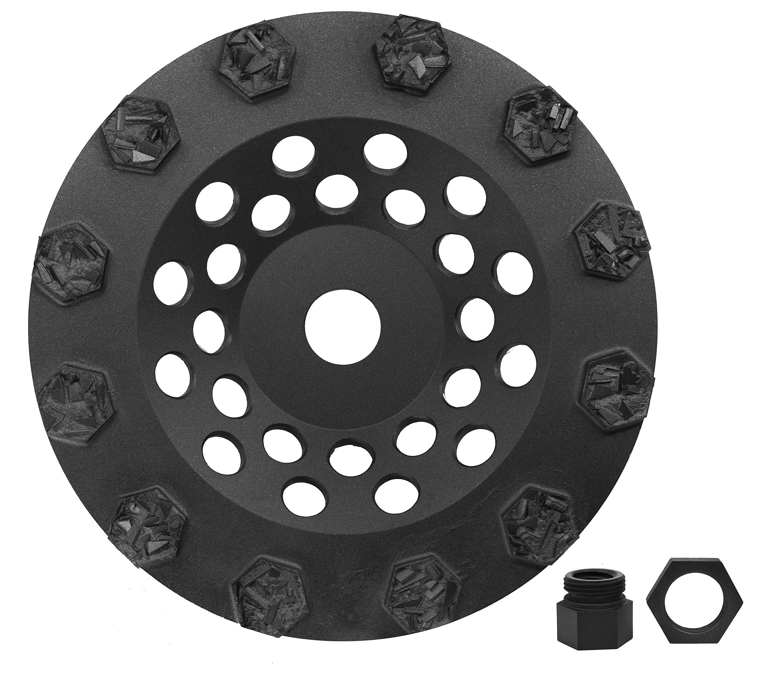 Split PCD Cup Wheel & 5/8''-11 Threaded Arbor - 12 Hexagonal Segments - 7'' Size - Dragon Tooling