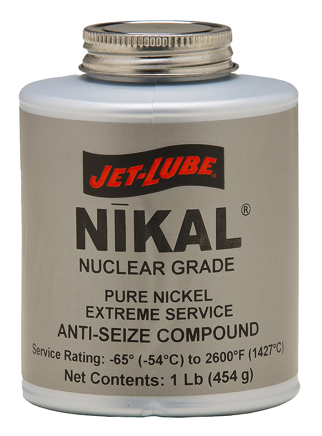 Jet-Lube Pure Nickel Nuclear Extreme Anti-Seize and Thread Lubricant, 1 lbs Brush Top Can 13504