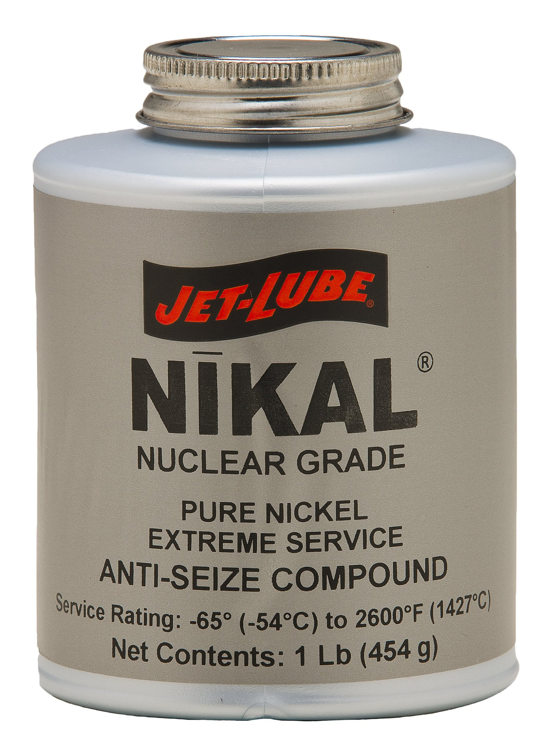 Jet-Lube Pure Nickel Nuclear Extreme Anti-Seize and Thread Lubricant, 1/4 lbs Brush Top Can