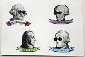 4 Sticker Sheet Hipster Alexander Hamilton, Washington, Lafayette, and Burr Set