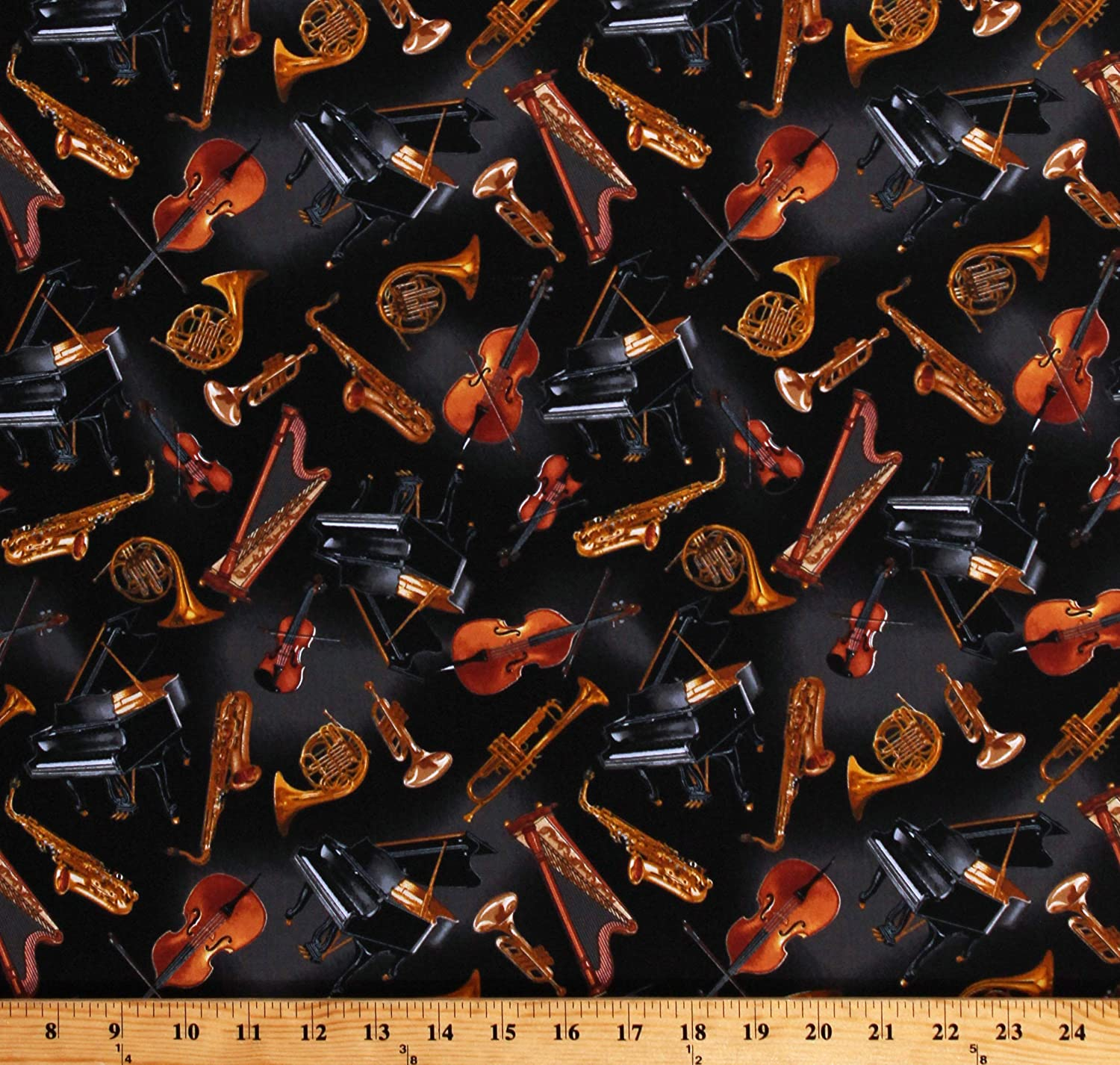 Cotton Musical Instruments Violin Cello Orchestra Black Fabric Print BTY D514.15