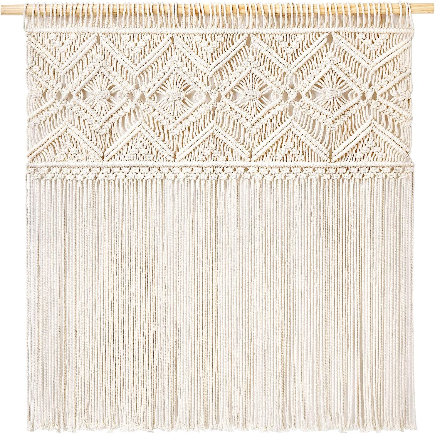 """Mkono Large Macrame Wall Hanging Boho Tapestry Fringe Wall Decor Woven Home Decoration for Apartment Living Room Bedroom Gallery Background,36""""x33"""""""