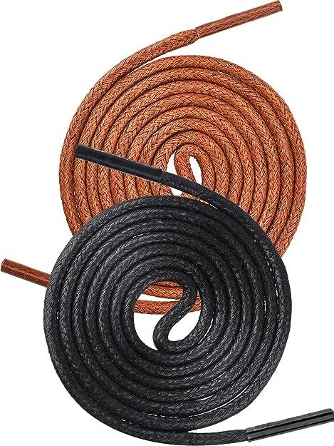 3 Paare Runde Schwarze Schnürsenkel und 3 Paare Dünne Braune Schnürsenkel Gewachst mit 2,5 mm Breite und 80 cm Länge für Männer und Damen Kleid Schuhe