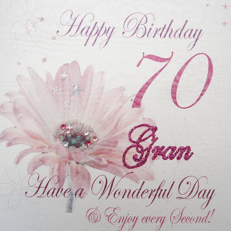 White Cotton Cards Wba70 G Pink Gerbra Happy Birthday 70 Gran Have