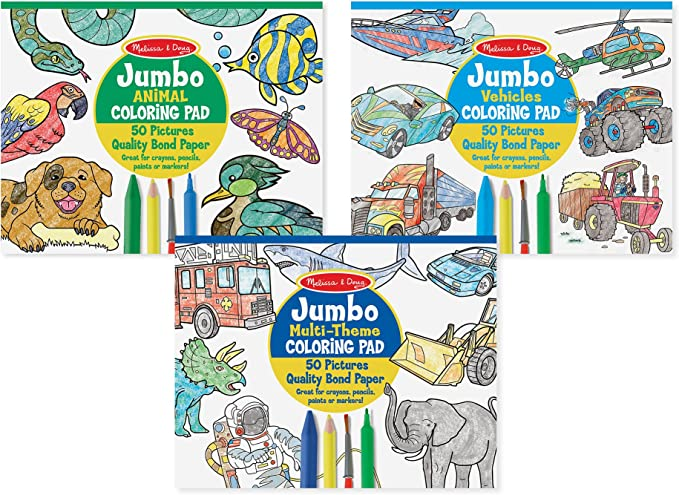 Amazon.com: Melissa & Doug Coloring Pad Bundle: Animals, Vehicles And  Multi-Theme: Toys & Games