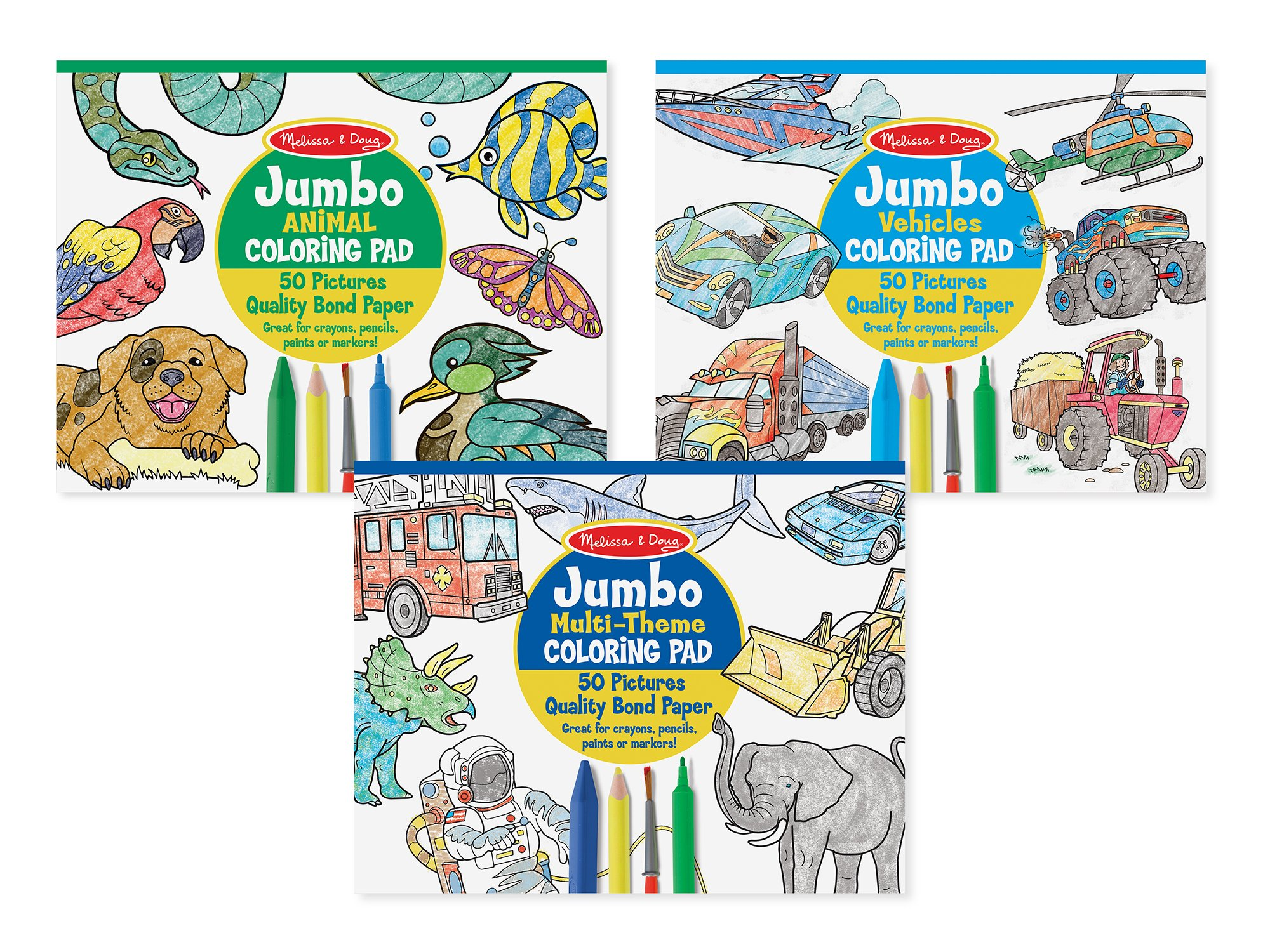 Melissa & Doug Jumbo 50-Page Kids' Coloring Pads Set - Animals, Vehicles, and More