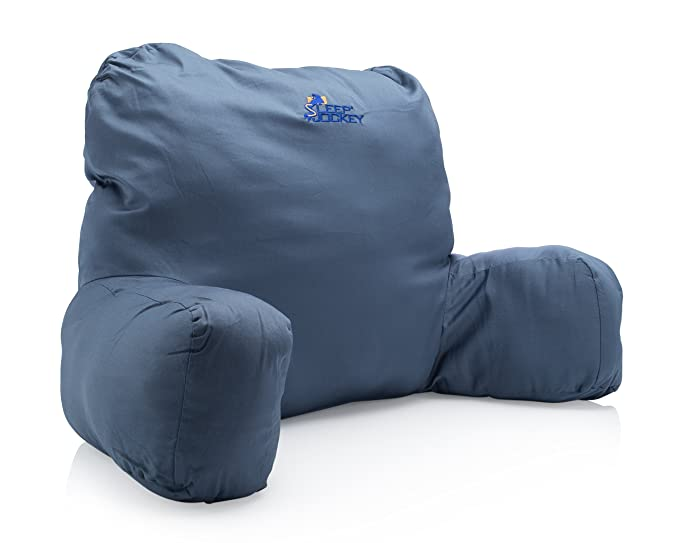 Bed Reading Pillow Premium Therapeutic Grade Bed Rest Support Pillow Super Soft Not Overstuffed Egyptian Cotton Blue