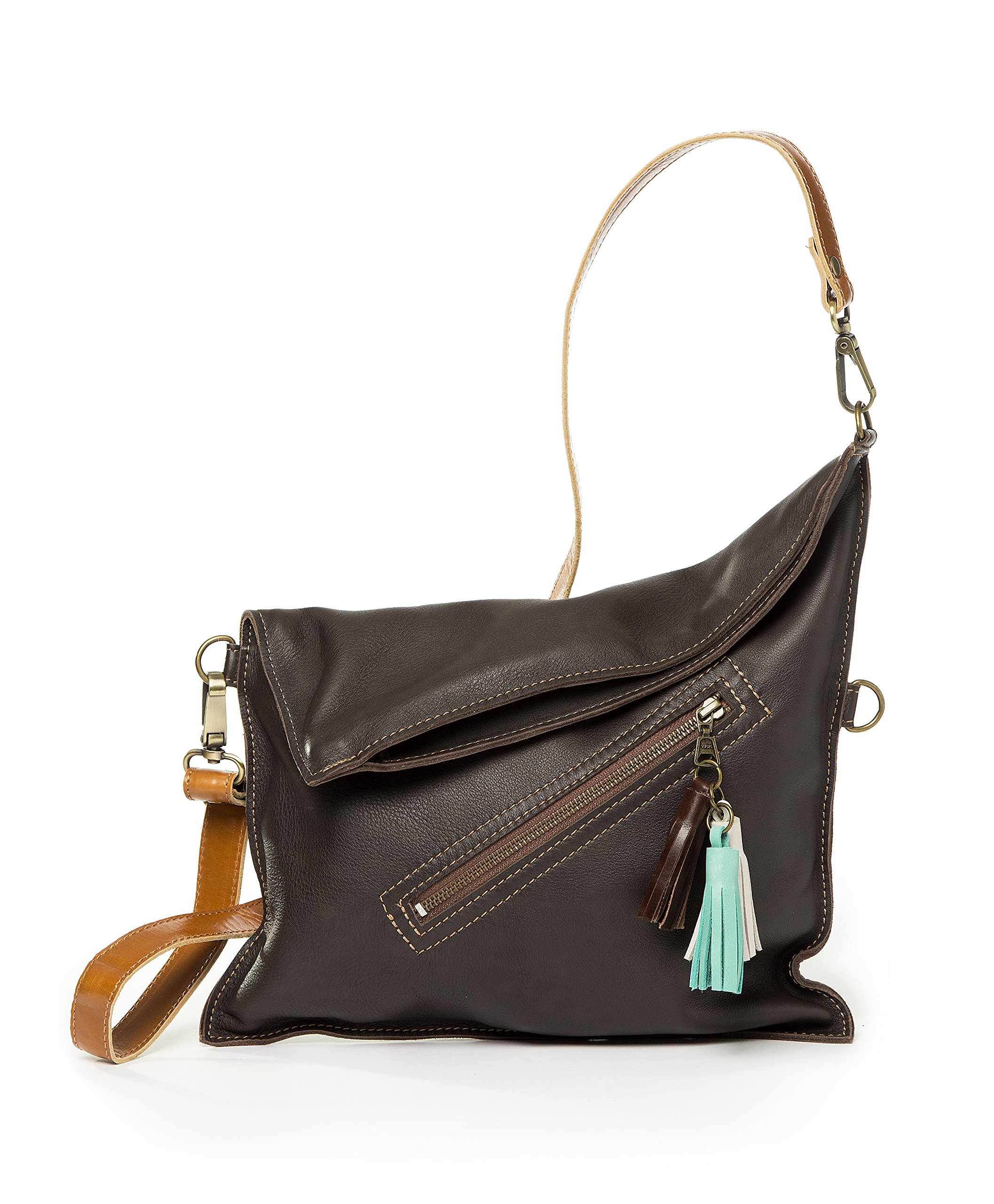 Soft leather crossbody bag | Fold over purse | Practical for woman and girls (Dark Brown)