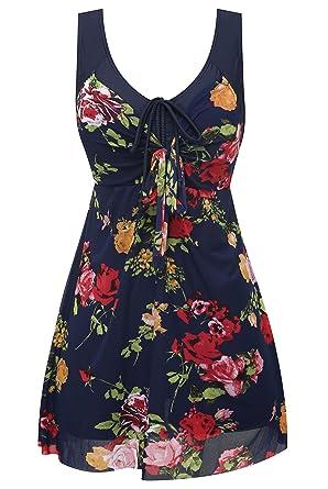 67d84f9217 Wantdo Women One Piece Swimsuit Costume Swimdress Tummy Control Plus Size  with Shorts Skirt: Amazon.co.uk: Clothing