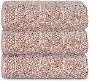 AROW9 - 3 Pack Luxury Bath Towels 750 GSM 100% Turkish Cotton – Premium Quality Decorative Absorbent & Soft - Fancy Home Guest Bathroom & Spa Towel - Elegant Jacquard Mod Lux Design - Beige