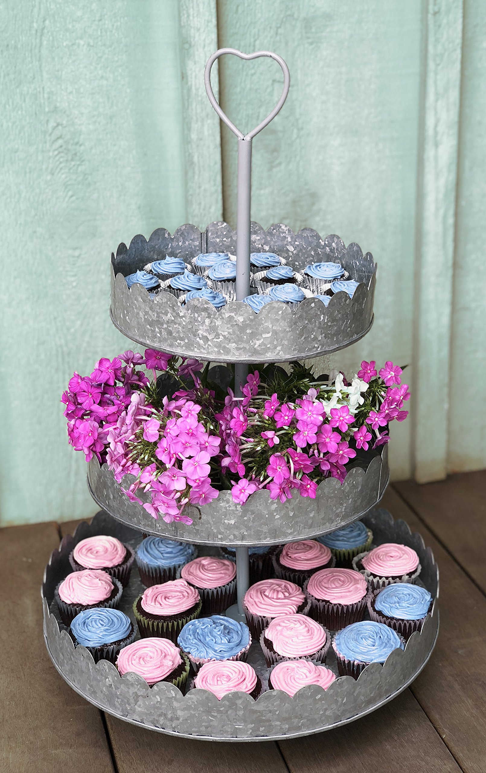Rustic Galvanized 3-Tier Round Display Stand | Tiered Heart Cupcake Stand | Dessert Tower | Pretty, Romantic Details Perfect for Weddings |Statement Piece at 15'' Diameter and 23'' High by Autumn Alley (Image #2)