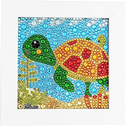 ParNarZar Small and Easy DIY 5d Diamond Painting Kits Mosaic Making with White Frame for Kids - Little Turtle 6X6: Amazon.co.uk: Kitchen & Home