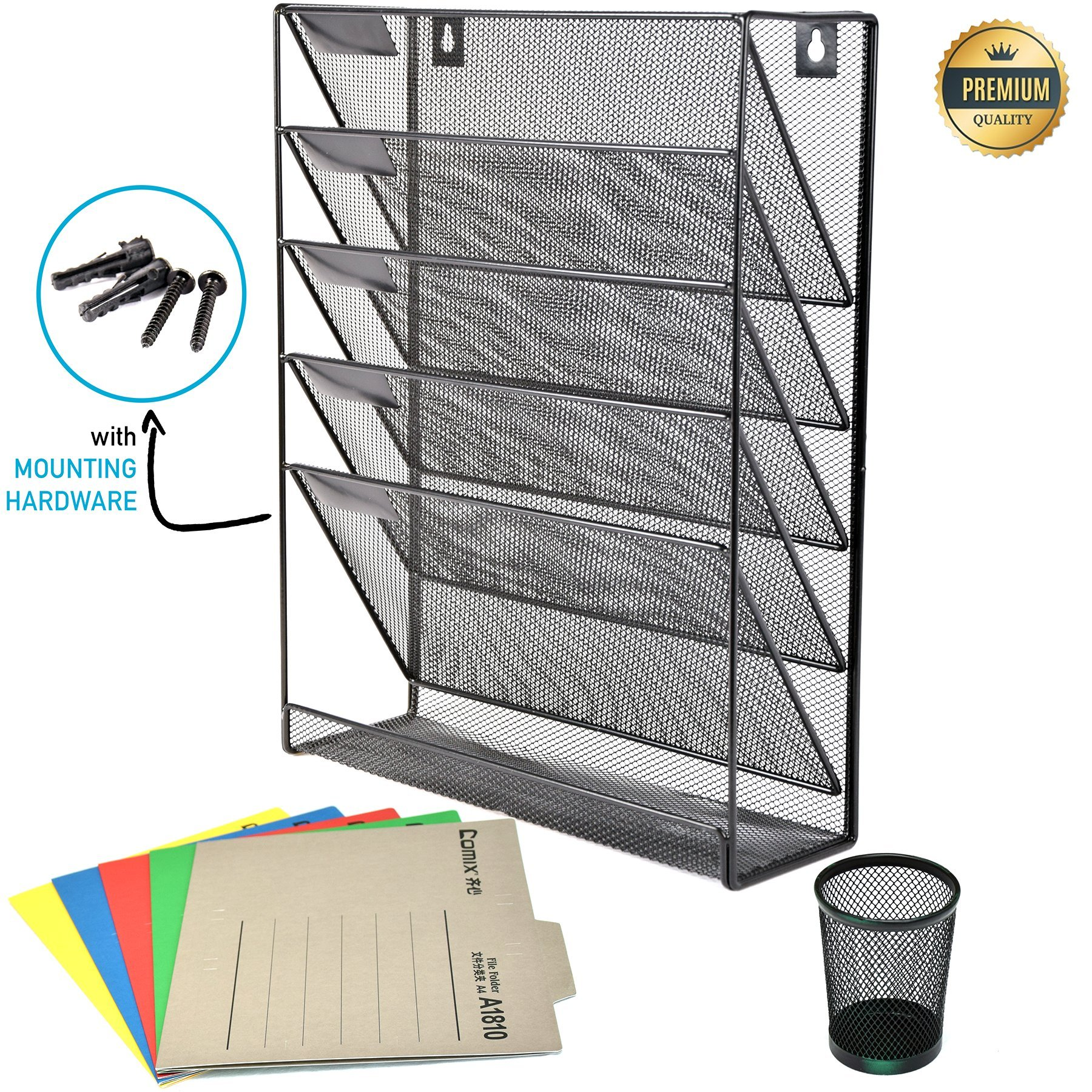 Mesh Wall File Holder Organizer – 5 Tier Hanging Wall Mounted Rack – for Office/Home – Mail Organizer, Sorter Tray for Letters, Folders, Notebooks, Laptop, Binders. – With Plugs, Penholder & Folders